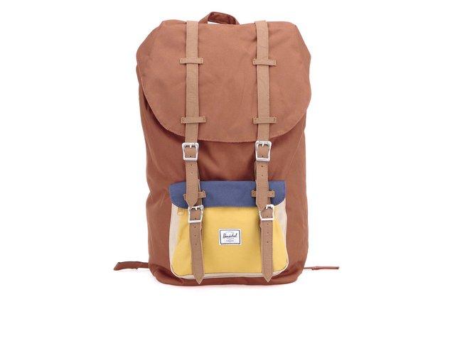 Červenohnědý batoh s modro-žlutou kapsou Herschel Little America