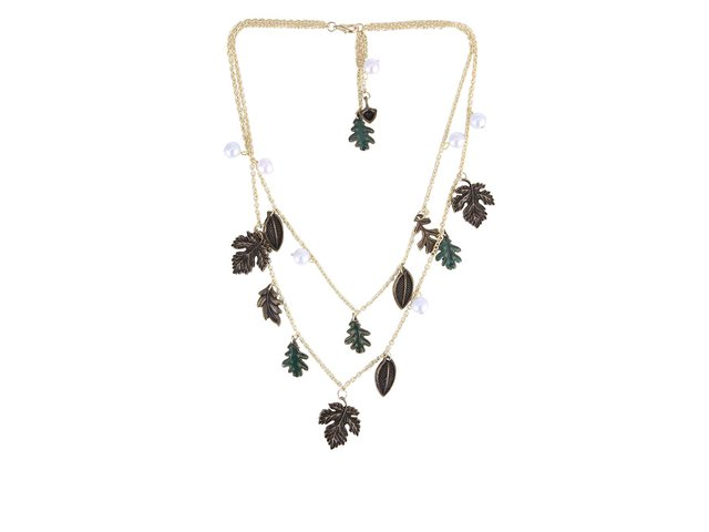Romantický přírodní náhrdelník ve zlaté barvě Disaster Wild Wood Leaf