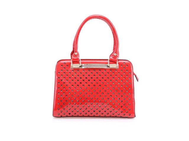 Červená lakovaná kabelka Milan Fashion