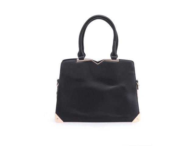 Černá kabelka s leopardím detailem Milan Fashion