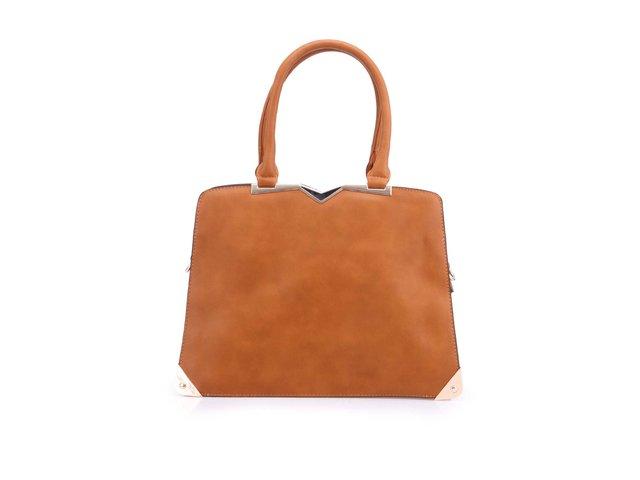 Hnědá kabelka s leopardím detailem Milan Fashion