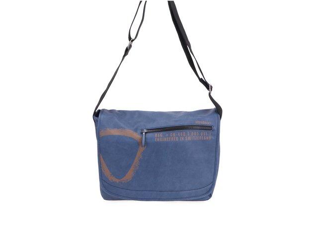 Modrá pánská kožená messenger taška Strellson Paddington LH