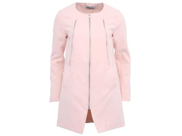 Růžový kabát na zip Noisy May Fade