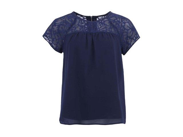 Tmavě modré dámské triko s krátkými rukávy Vero Moda Lacer