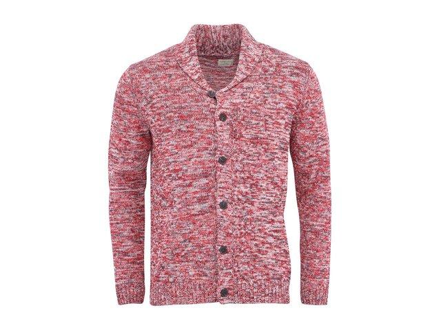 Červený žíhaný cardigan s límcem Selected Olaf Shawl