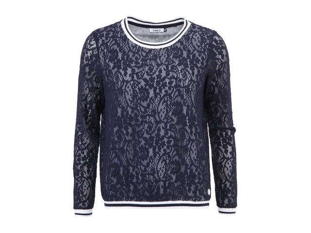 Tmavě modré krajkové triko s dlouhými rukávy ONLY Natalee