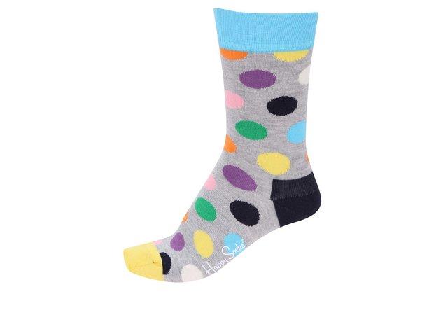 Šedé dámské ponožky s barevnými puntíky Happy Socks
