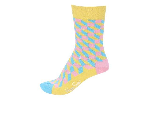 Žluté dámské ponožky se vzorem Happy Socks