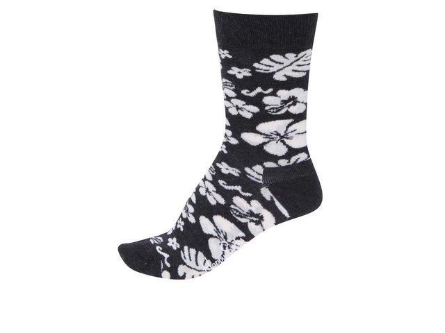Černo-bílé dámské ponožky s kytkami Happy Socks