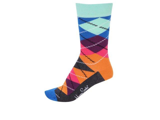 Modro-oranžové dámské kárované ponožky Happy Socks