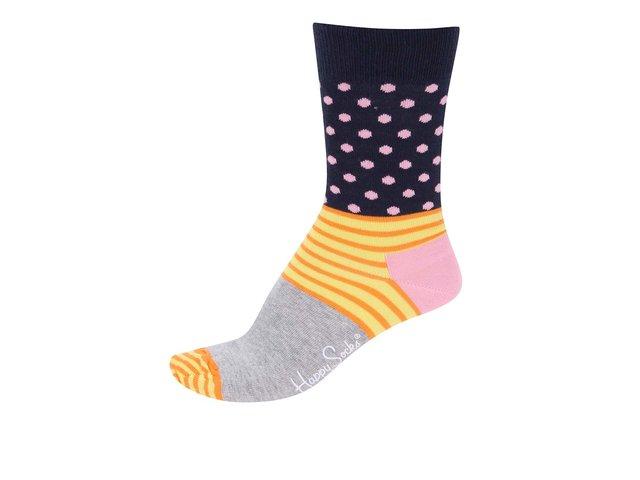 Žluto-modro-šedé dámské ponožky se vzory Happy Socks