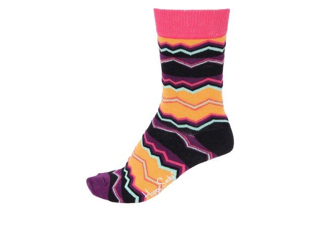 Fialovo-žluté dámské ponožky se vzory Happy Socks