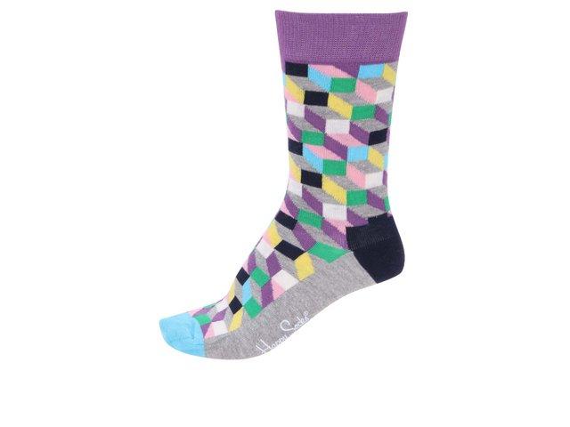 Šedo-modro-fialové dámské ponožky se vzorem Happy Socks