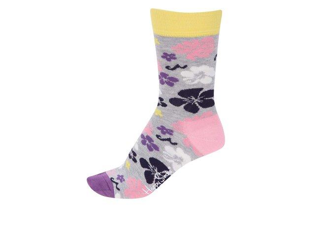 Světle šedé dámské ponožky s kytkami Happy Socks