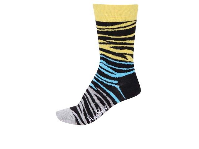 Žluto-modro-šedé dámské vzorované ponožky Happy Socks