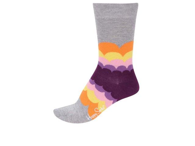 Šedo-fialové dámské ponožky Happy Socks