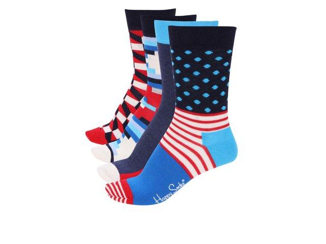 Sada čtyř párů modrých dámských ponožek se vzory Happy Socks Pre Pack