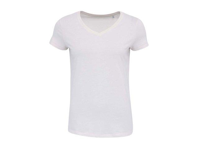 Krémové dámské tričko s výstřihem do