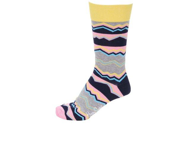 Šedé unisex ponožky se vzory Happy Socks