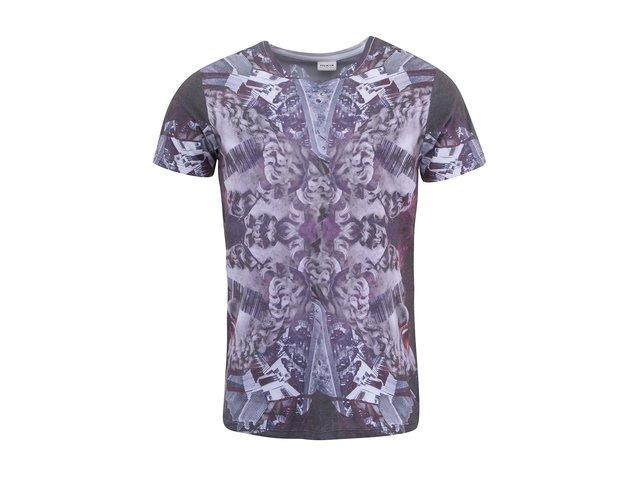 Bílé tričko s  fialovým potiskem Jack & Jones Rob