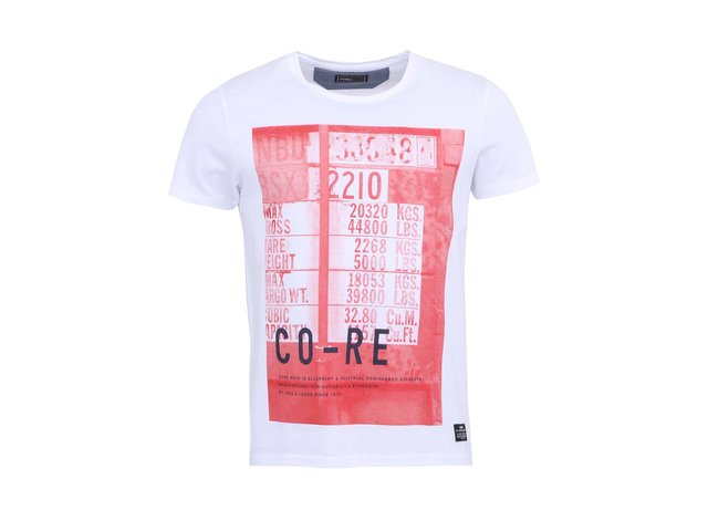 Bílé triko s červeným potiskem Jack & Jones Outside