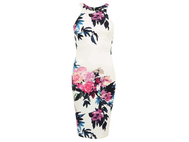 Krémové šaty s květy AX Paris