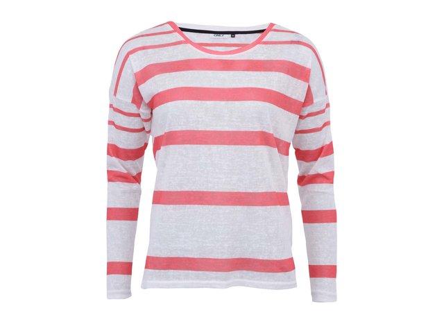 Korálovo-bílé pruhované tričko s dlouhými rukávy ONLY Marly