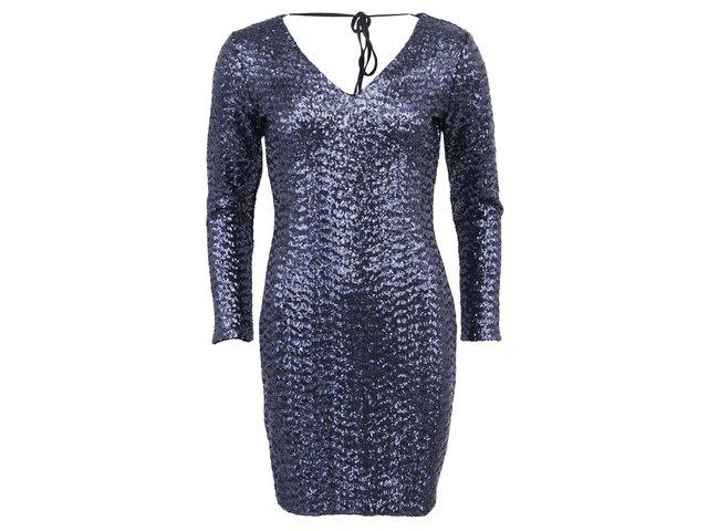 Tmavě modré metalické šaty Lipsy