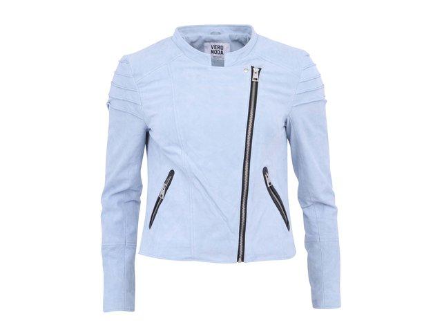 Světle modrá kožená bunda Vero Moda Dominate