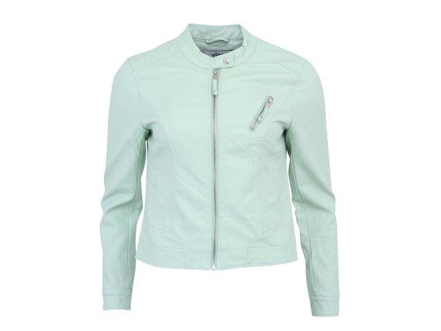 Světle zelená koženková bunda Vero Moda Irina