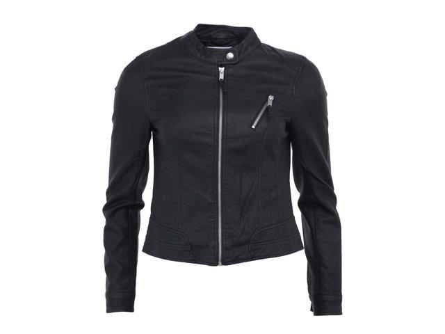 Černá koženková bunda Vero Moda Irina