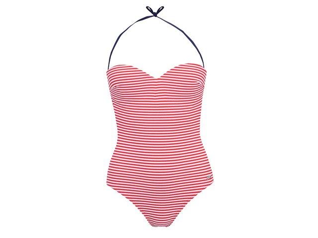 Červeno-bílé pruhované plavky Little Marcel Badura Imprime
