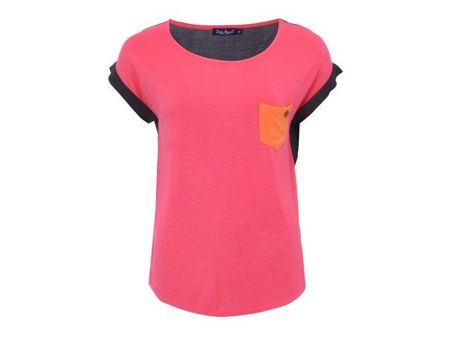 Růžové triko s krátkými rukávy s kapsou Little Marcel Trapa