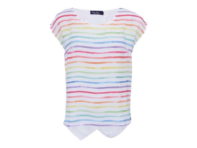 Bílé pruhované triko s krátkými rukávy Little Marcel Tista