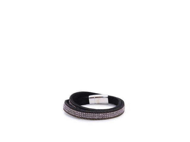 Černý náramek s fialovými kamínky INVUU London