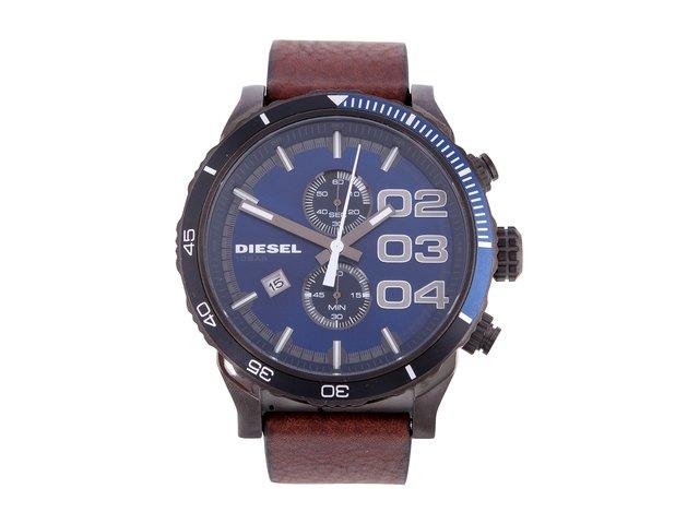 Pánské hodinky s hnědým koženým páskem a modrým ciferníkem Diesel