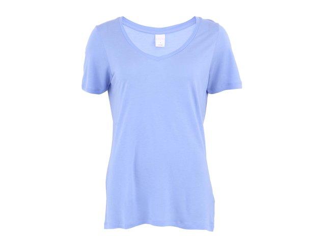 Modré delší triko s krátkými rukávy s výstřihem do
