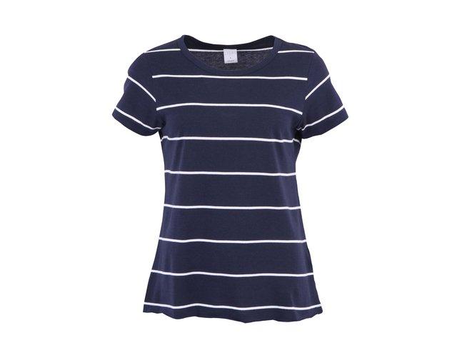 Tmavě modré pruhované triko s krátkými rukávy Vero Moda Lise