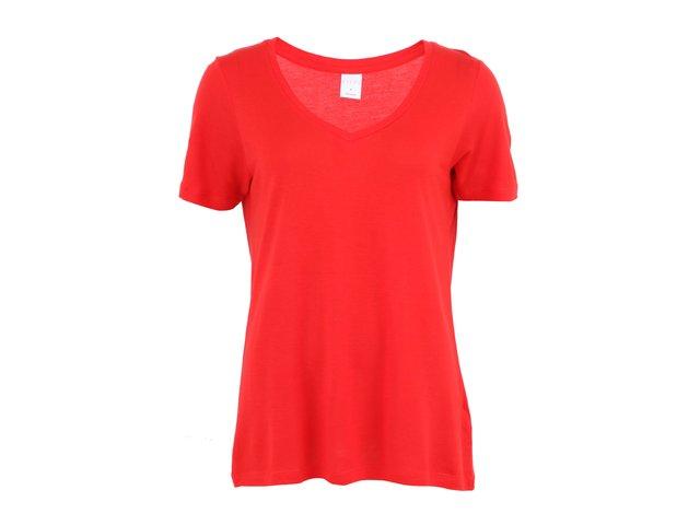 Červené delší triko s krátkými rukávy s výstřihem do