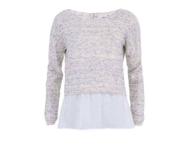 Krémovo-šedý melírovaný svetr s bílým lemem ONLY Debby