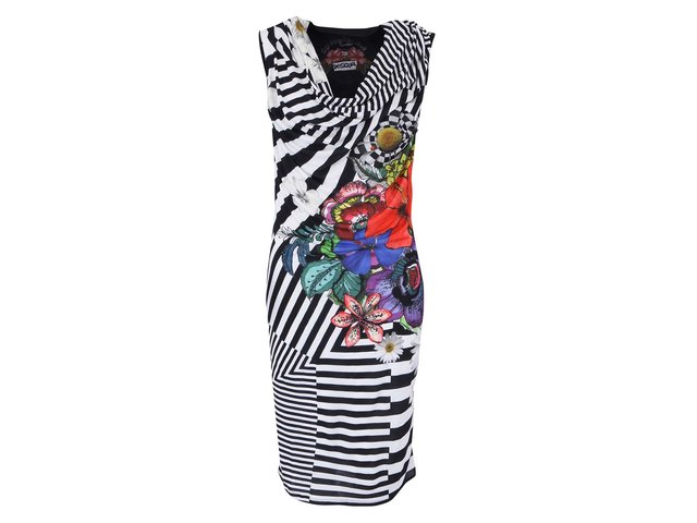 Černo-bílé pruhované šaty Desigual
