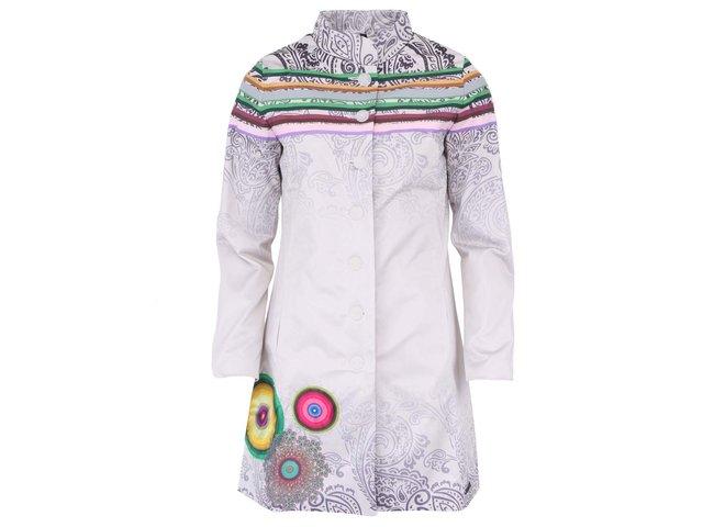 Bílý kabát s ornamenty Desigual Galactico