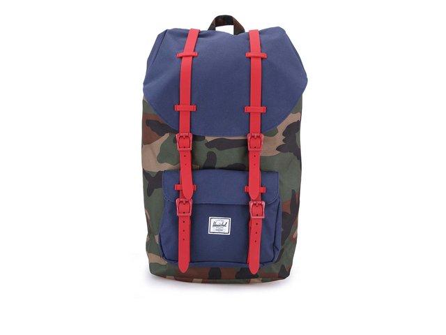 Maskáčový batoh s modrými detaily a korálovými popruhy Herschel Little America