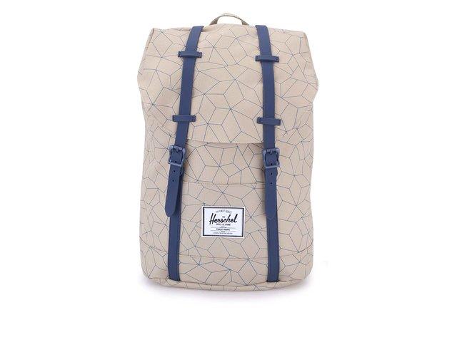 Béžový velký batoh s modrými detaily Herschel Retreat