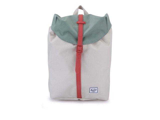 Zeleno-krémový batoh s korálovým popruhem Herschel Post