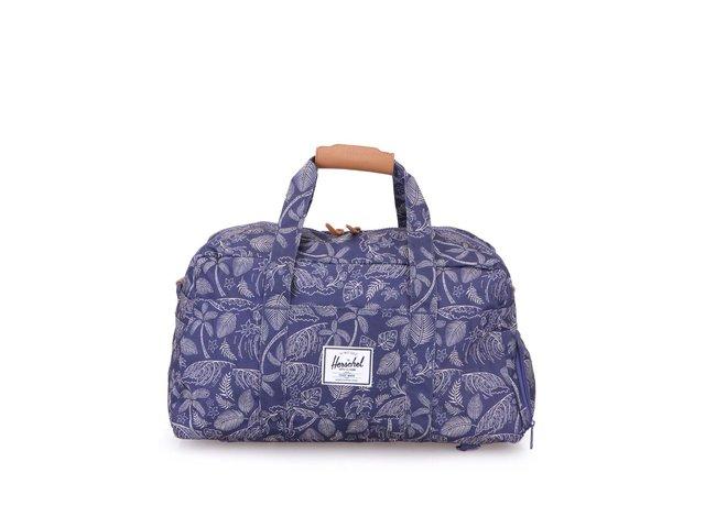 Modrá obdélníková taška přes rameno s palmovým potiskem Herschel Keats