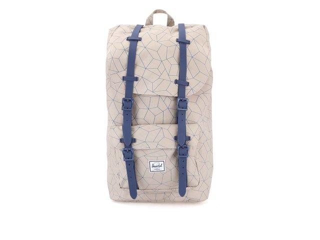 Béžový větší batoh s modrým potiskem a popruhy Herschel Little America