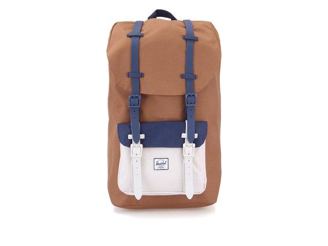 Hnědý větší batoh s modro-krémovou kapsou Herschel Little America