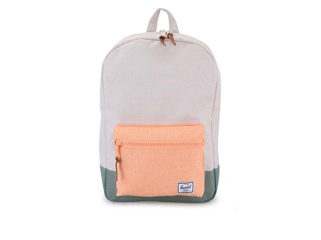 Zeleno-krémový batoh s oranžovou kapsou Herschel Settlement Mid-Volume