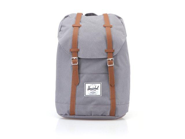 Šedý velký batoh s hnědými popruhy Herschel Retreat